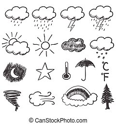 Weather Icons - Doodle illustration of weather icons