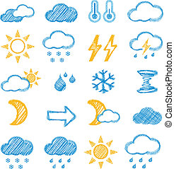 Weather icons doodles hand drawn set on white