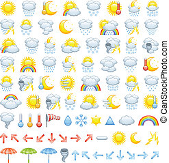 Weather icons - The collection of different weather icons,...