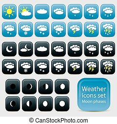 Weather icons on blue background.