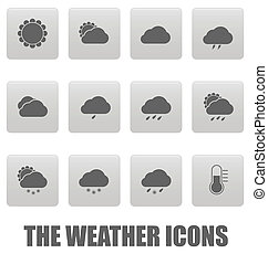 Weather icons on gray squares