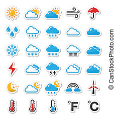 Weather icons set as labels - Black icons set - weather...