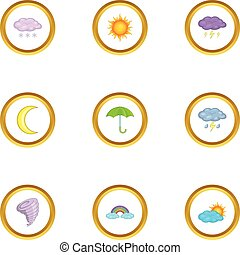 Weather icons set, cartoon style