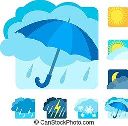 Weather icons set flat