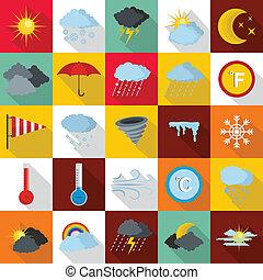 Weather icons set, flat style