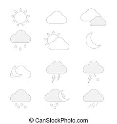 Weather icons set in outline style