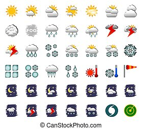 Weather Icons - Set of 42 - Illustration of a set of 42 ...