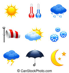 Set of 9 colorful weather icons.