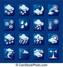 set of vector silhouette icons of weather