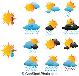 Weather icons - Set of weather icons for web design isolated...