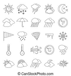 Weather icons set, outline style