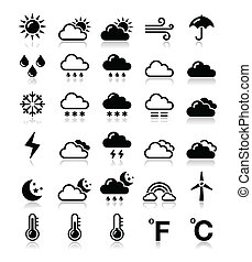 Black icons set - weather conditions, seasons with reflection