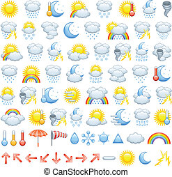 The collection of different weather icons, arrows for wind direction and weather icon parts to create Your own icons.