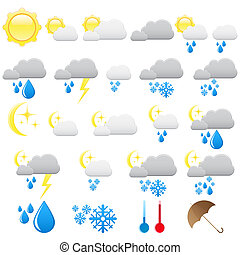 Weather and meteo icons isolated on white
