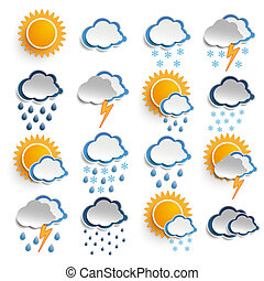 Weather Icons - Weather icons on the white background.