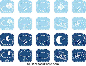 Weather Icons - Weather icons set with various atmospheric...