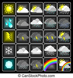Weather icons - Weather meteo icons isolated on black