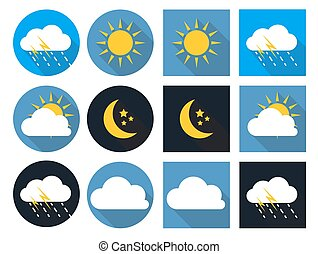 Weather Icons with Sun, Cloud, Rain and Moon in Flat Style with Long Shadows