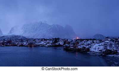 Weather in Reine town - Fast changing cloudy weather in...