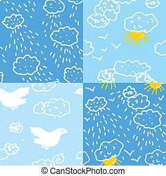 Weather in sky seamless patterns set