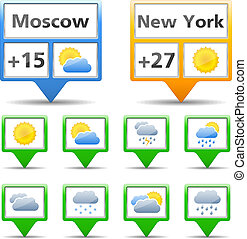 Weather indicators and icons, vector eps10 illustration