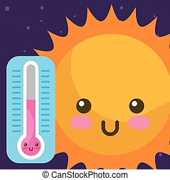 weather kawaii sun and thermometer hot