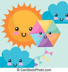 weather kawaii sun clouds and kite cartoon