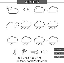 Weather line icons set. Monochrome thin line elements isolate on white background. Minimalistic lineart design. Vector illustration
