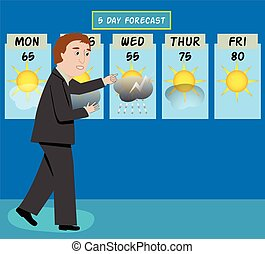 Weather Man - A tv weather man forecasts the weather
