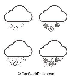 weather nature icon line set illustration