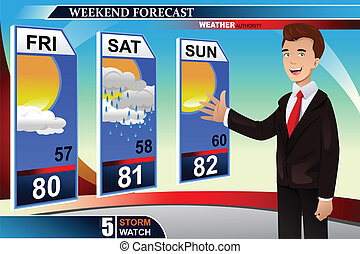 Weather news reporter - A vector illustration of TV weather ...
