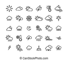 Weather outline icon set ,Vector Illustration.