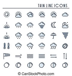 Weather pack line icons set. Meteorology. Weather forecast trendy design elements. Template for mobile app, web and widgets.Vector style linear icons. Isolated illustration. Symbols. Blue