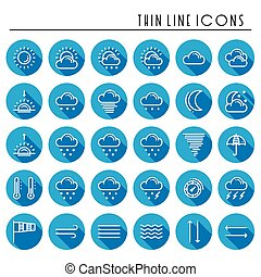 Weather pack line icons set. Meteorology. Weather forecast trendy design elements. Template for mobile app, web and widgets.Vector style linear icons. Isolated illustration. Symbols