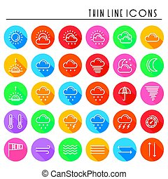 Weather pack line icons set. Meteorology. Weather forecast trendy design elements. Template for mobile app, web and widgets.Vector style linear icons. Isolated illustration. Symbols silhouette
