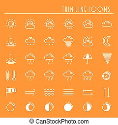 Weather pack line icons set. Meteorology. Weather forecast trendy design elements. Template for mobile app, web and widgets.Vector style linear icons. Isolated illustration. Symbols. Orange