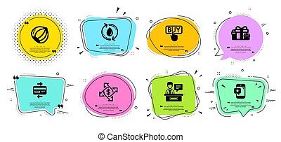 Weather phone, Refill water and Payment exchange icons set. Holiday presents, Exhibitors and Credit card signs. Vector