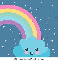 weather rainbow cloud kawaii cartoon