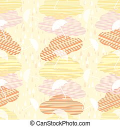 weather rainy day with cloud and umbrella pattern