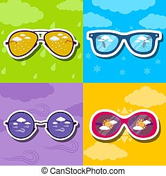 weather retro glasses background concept. vector illustration design