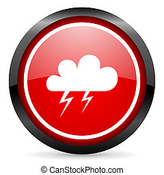 weather round red glossy icon on white background