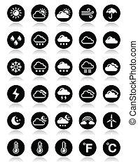 Weather round vector icons set