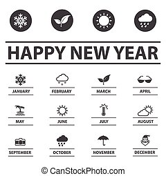 Weather season and New year icons