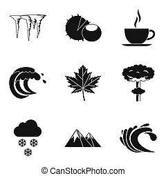 Weather service icons set, simple style