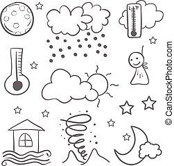 Weather set doodles vector illustration