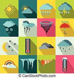 Weather set icons, flat style