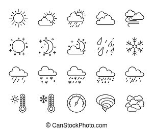 Weather simple black line icons vector set