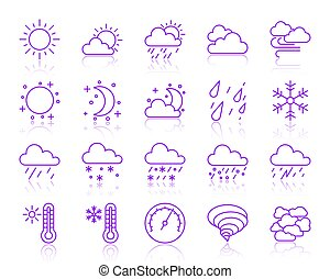 Weather simple color line icons vector set