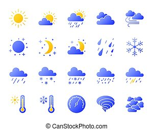 Weather simple gradient icons vector set