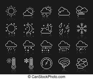 Weather simple white line icons vector set